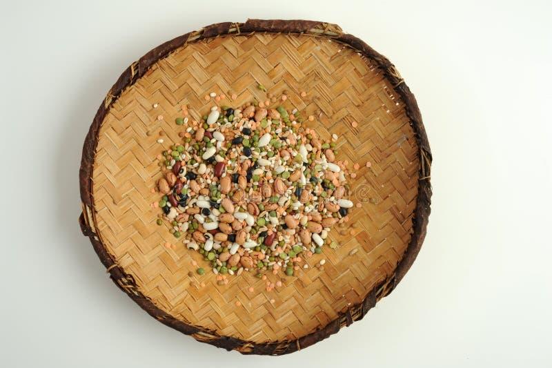 素食食物的混合物豆类 免版税库存图片