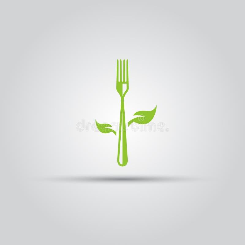 素食食物,与叶子的叉子隔绝了象 皇族释放例证
