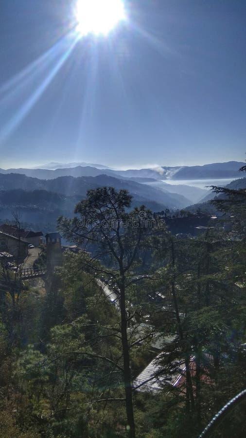 索兰,喜马拉雅山的山麓小丘的一个小镇 库存图片