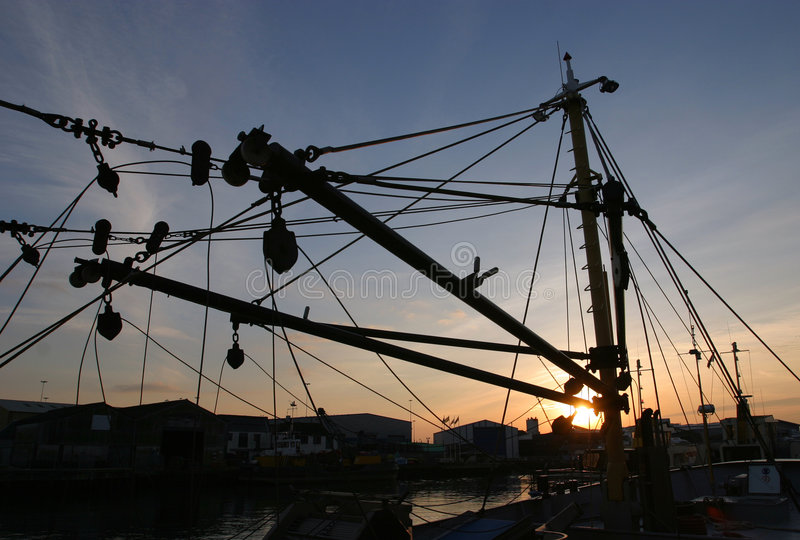 索具拖网渔船 库存图片