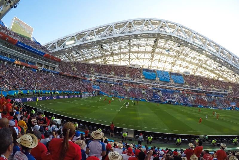 索契,体育场fisht 爱好者填装了体育场 比赛葡萄牙对西班牙 免版税库存照片