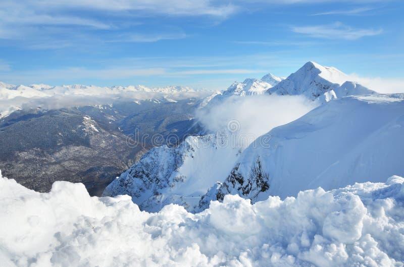 索契,俄罗斯,山风景,观点的Aibga里奇 滑雪胜地罗莎Khutor 库存照片