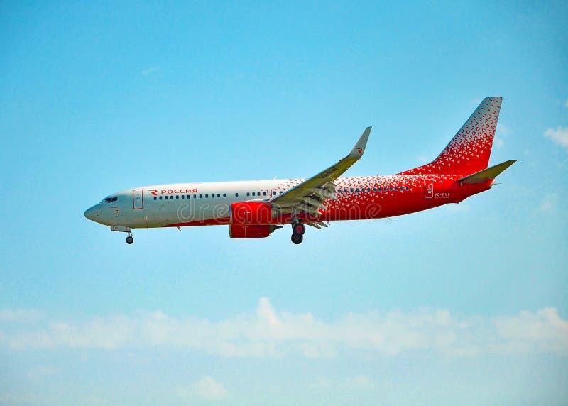 索契,俄罗斯- 2018年10月8日-飞机波音俄国航空公司波音737-800  免版税库存图片