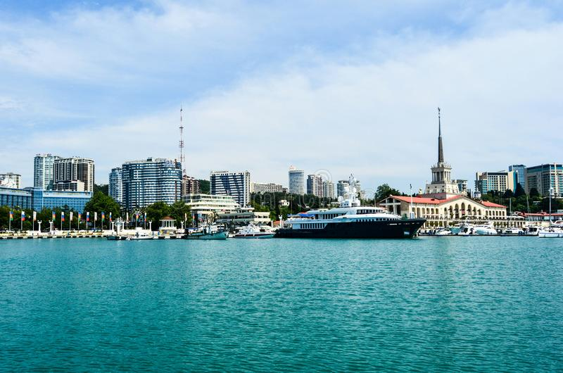 索契 俄国 停泊的 旅游业 水 库存图片