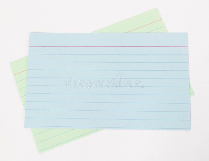 索引卡片 免版税库存照片