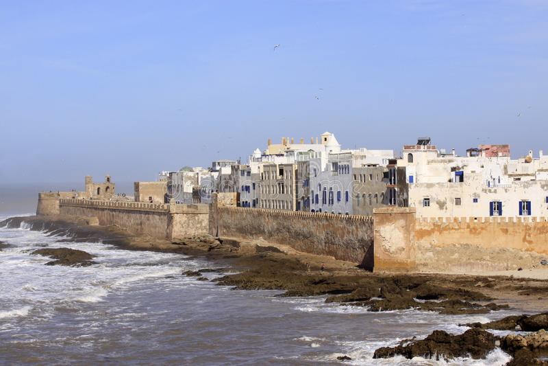 索维拉垒空中全景在索维拉,摩洛哥 索维拉继续下去一个城市在西部摩洛哥地区  免版税库存图片