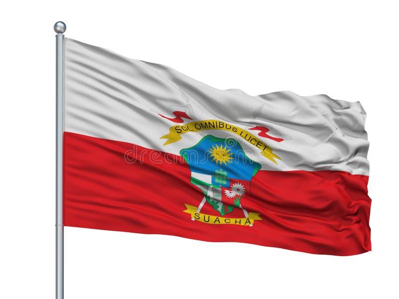 索阿查在旗杆,哥伦比亚,昆迪纳马卡省部门的市旗子,隔绝在白色背景 皇族释放例证