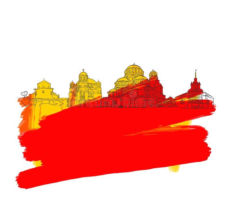 索非亚保加利亚五颜六色的地标横幅 库存例证