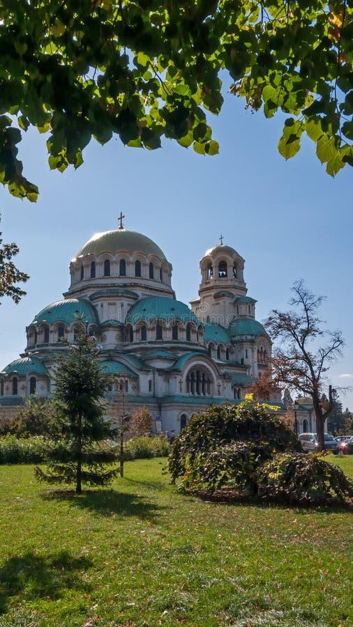 索非亚,保加利亚- 2018年10月5日:惊人的观点的大教堂圣徒亚历山大Nevski在索非亚 免版税库存图片