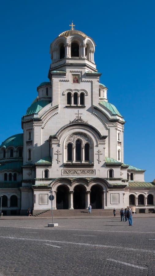 索非亚,保加利亚- 2018年10月5日:惊人的观点的大教堂圣徒亚历山大Nevski在索非亚 库存图片