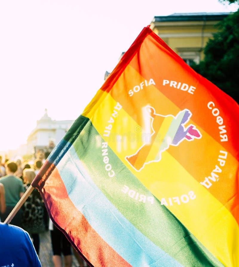 索非亚/保加利亚- 2019年6月10日:拿着在索非亚自豪感3月的人大彩虹旗子走在街道 图库摄影