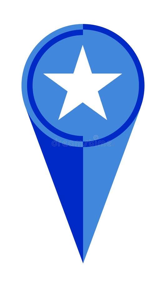 索马里地图尖地点旗子 库存例证