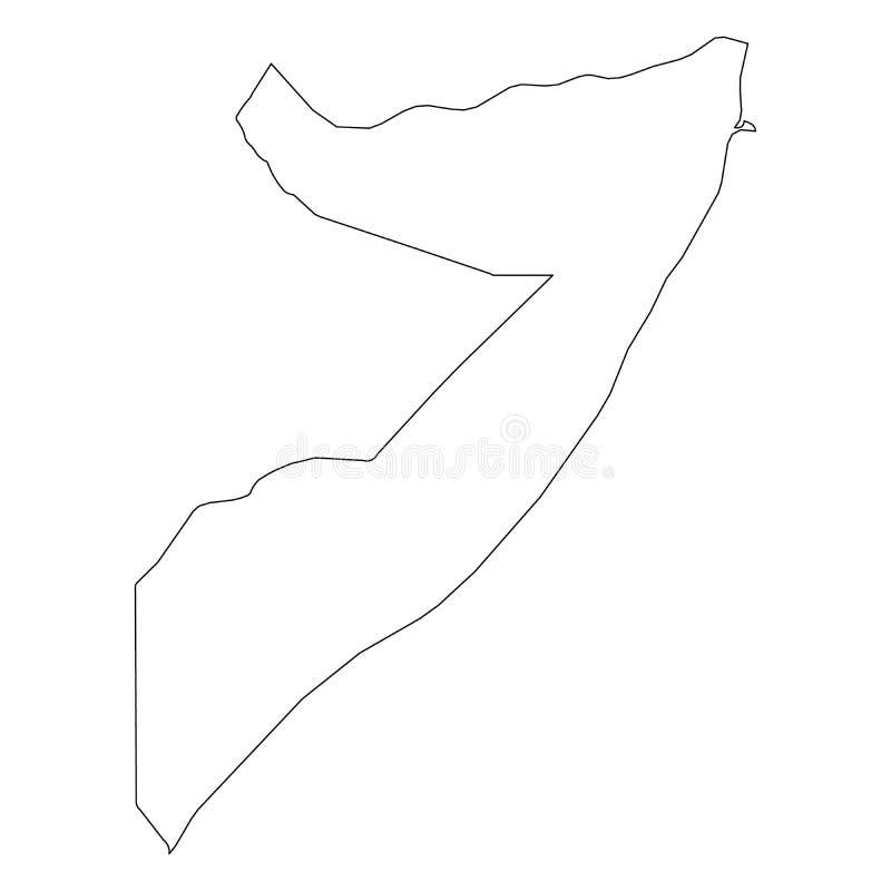 索马里-国家区域坚实黑概述边界地图  简单的平的传染媒介例证 皇族释放例证