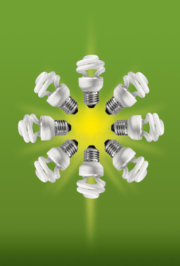 紧凑能源日光灯保存 库存图片
