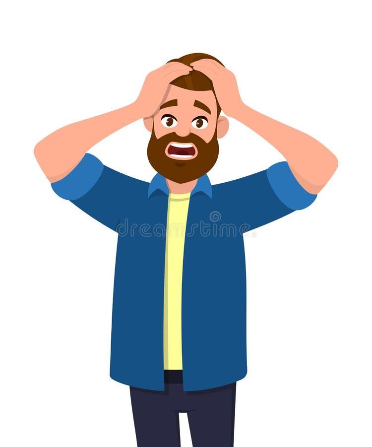 紧压头用手的不快乐的年轻人 情感和肢体语言概念 重音、紧张和偏头痛 库存例证