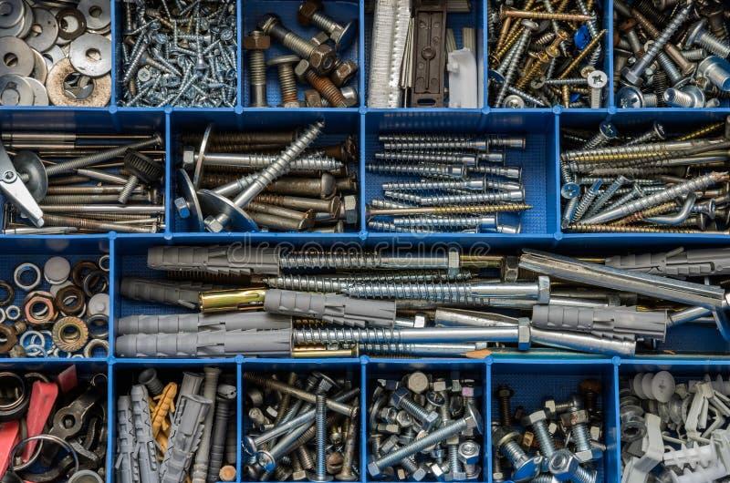 紧固件螺栓和坚果在组织者 免版税库存图片