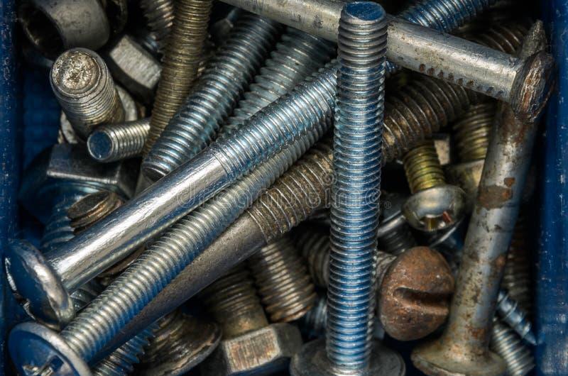 紧固件螺栓和坚果在组织者 免版税库存照片