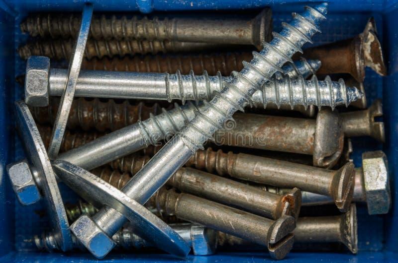 紧固件螺栓和坚果在组织者 图库摄影