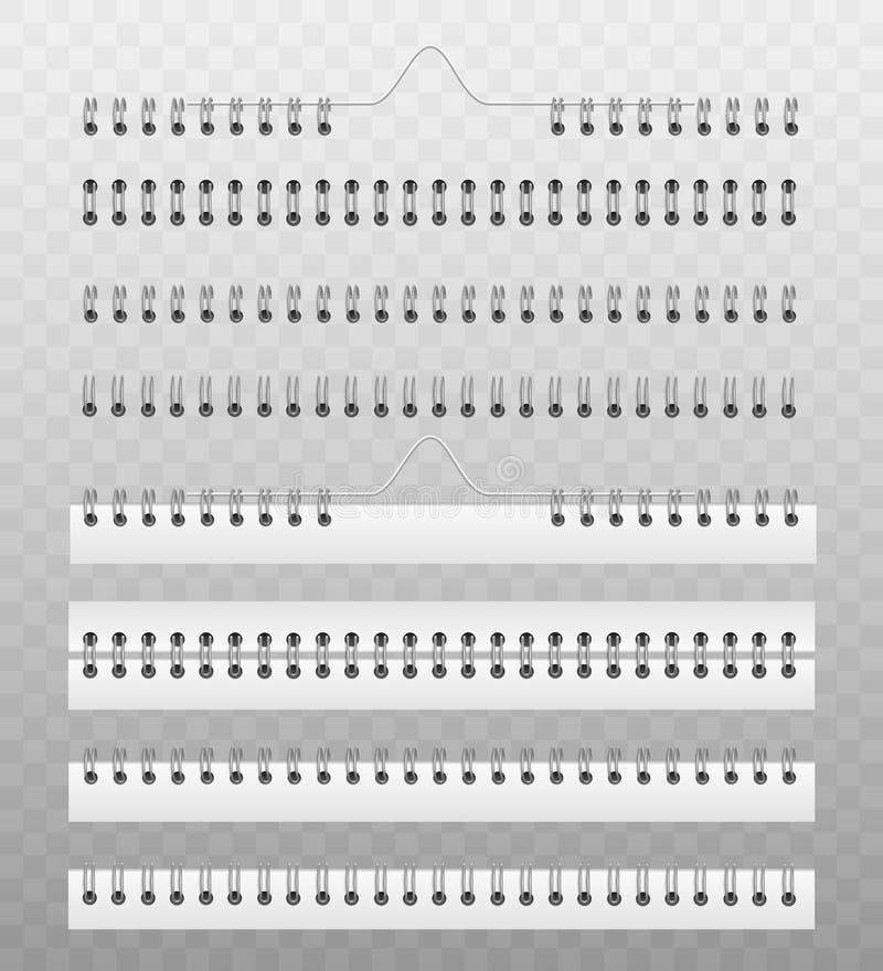 紧固的日历或笔记本纸的线圈弹簧 库存例证