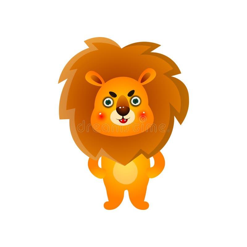 紧张的逗人喜爱的五颜六色的孩子狮子,在早晨醒后 向量例证