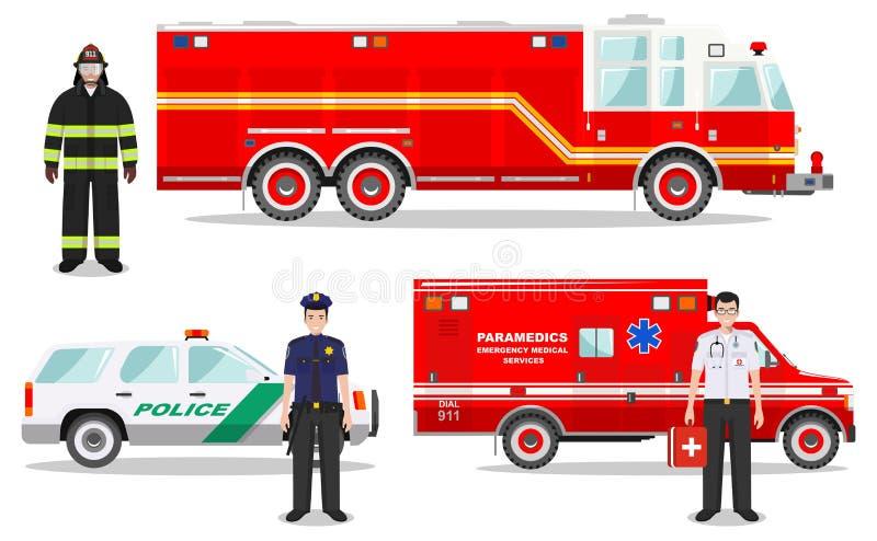 紧急概念 消防队员、医生、警察有消防车的,救护车和警车的详细的例证在平的样式 库存例证