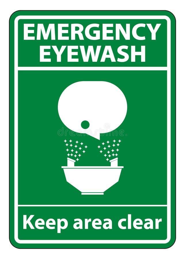 紧急洗眼水保留在白色背景,传染媒介例证EPS的区域清楚的标志标志孤立 10 皇族释放例证