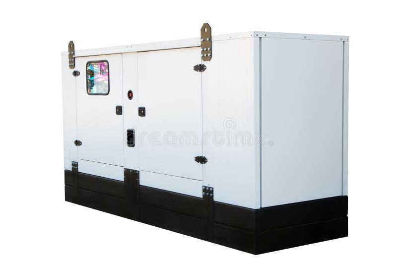 紧急电力的发电器 背景查出的白色 库存图片
