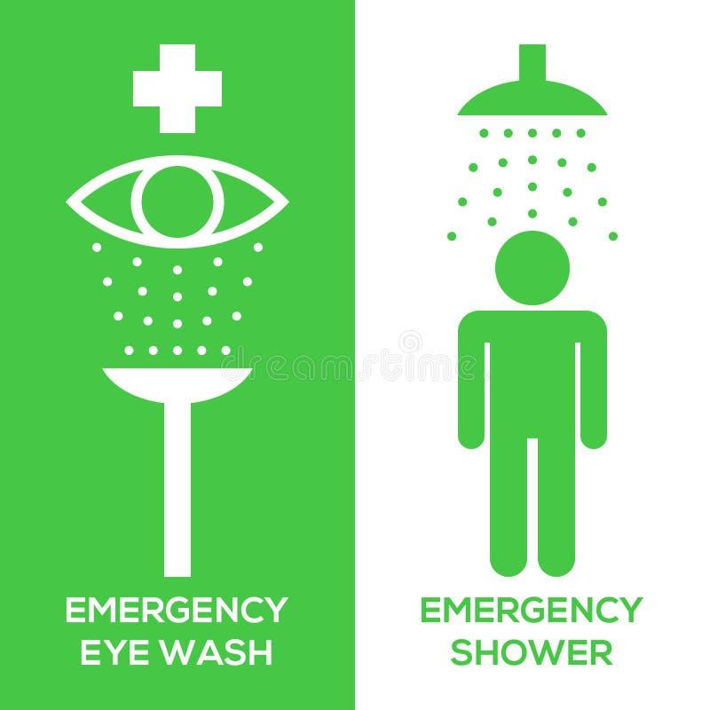紧急眼睛洗涤和紧急阵雨图表象 皇族释放例证