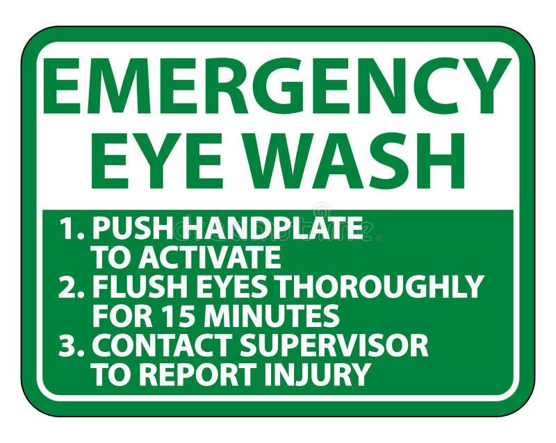 紧急眼睛洗涤指示签署在白色背景,传染媒介例证的孤立 向量例证