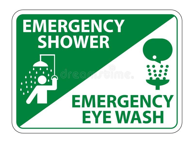 紧急阵雨,眼睛洗涤标志在白色背景,传染媒介例证EPS的标志孤立 10 向量例证