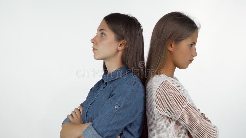 紧接站立两个女性的朋友看恼怒在有以后战斗 库存照片