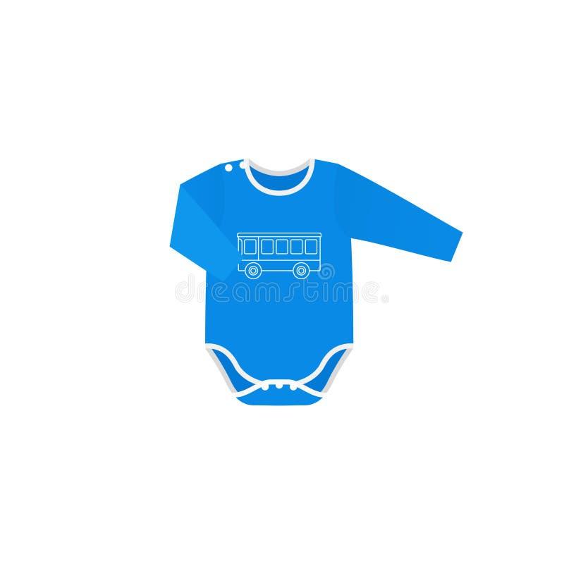 紧身衣裤在平的设计的婴孩布料 男孩动画片不满意的例证少许向量 皇族释放例证