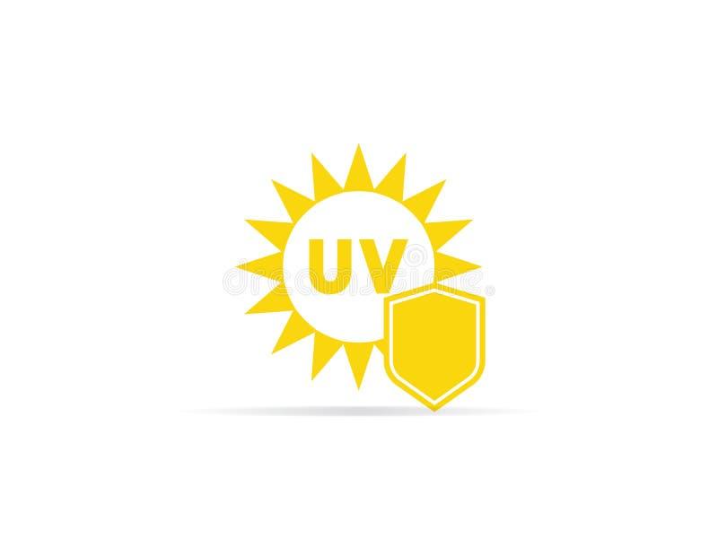 紫外保护象、反紫外线辐射与太阳和盾商标标志 例证 库存例证