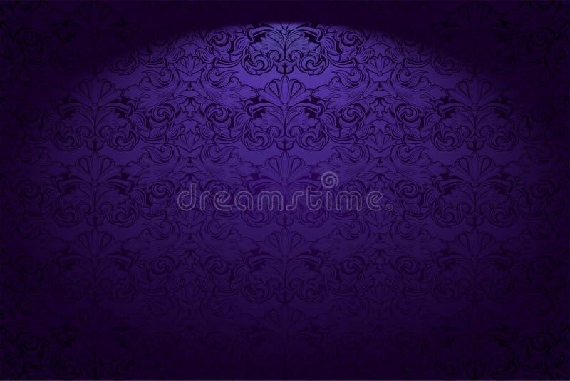 紫外,紫水晶制成的葡萄酒背景,皇家与经典巴洛克式的样式,洛可可式 向量例证