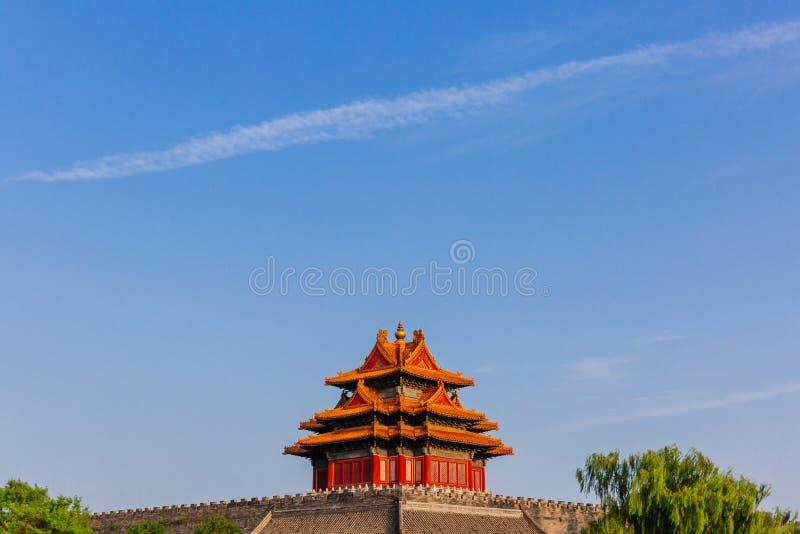 紫禁城壁角塔在天空蔚蓝下的,在北京,中国 库存照片