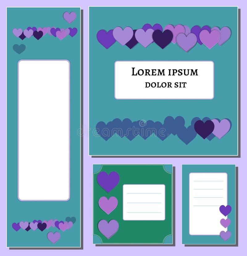 紫罗兰色和淡紫色心脏集合横幅模板 对盖子,海报设计媒介,印刷品,飞行物 装饰杂志,小册子 向量例证