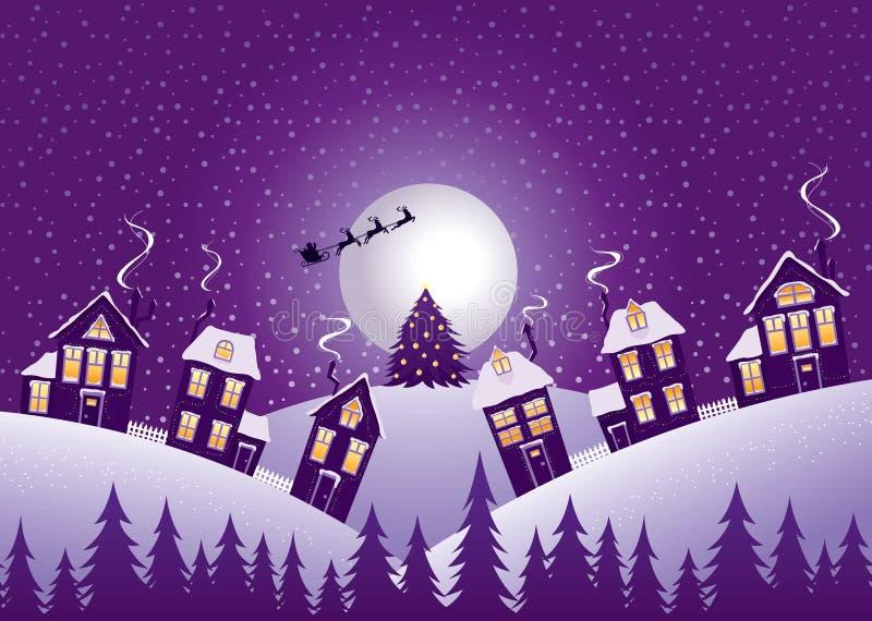 紫罗兰色圣诞夜 向量例证