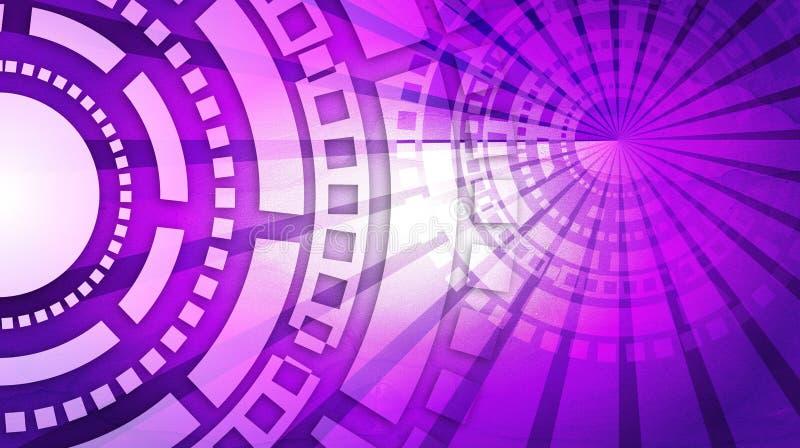 紫罗兰色抽象技术未来派背景 库存例证