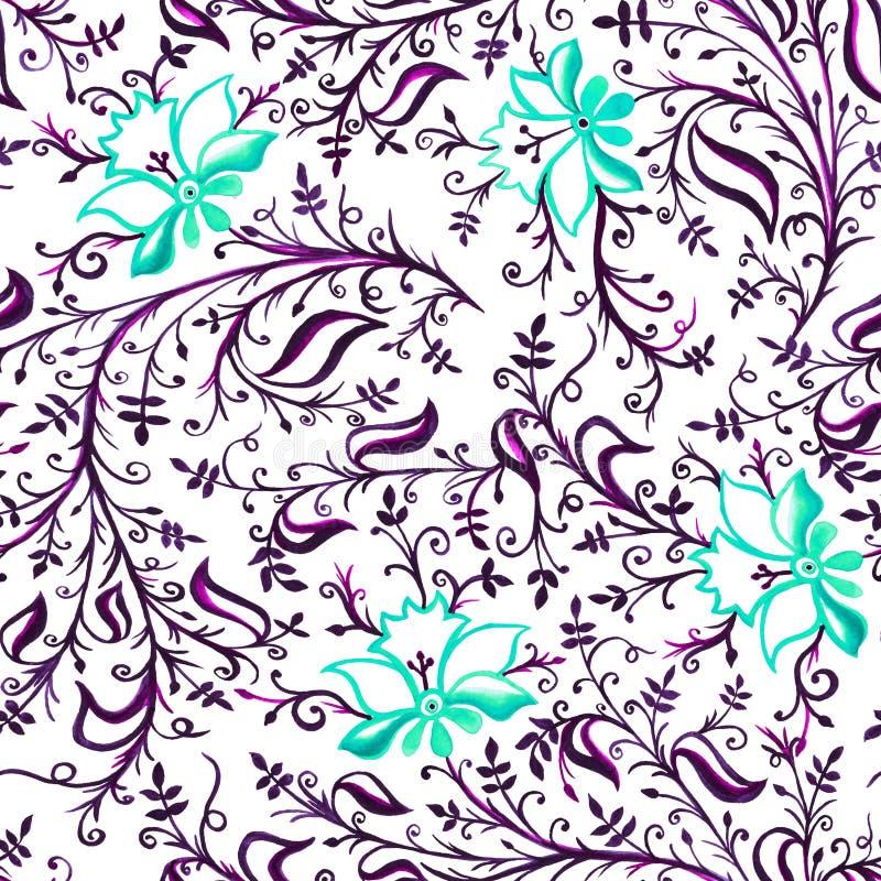 紫罗兰色无缝的样式装饰品透雕细工精美花和叶子有卷毛的和的藤蓝色和 皇族释放例证