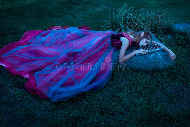 紫罗兰色礼服的矮子妇女 免版税库存照片