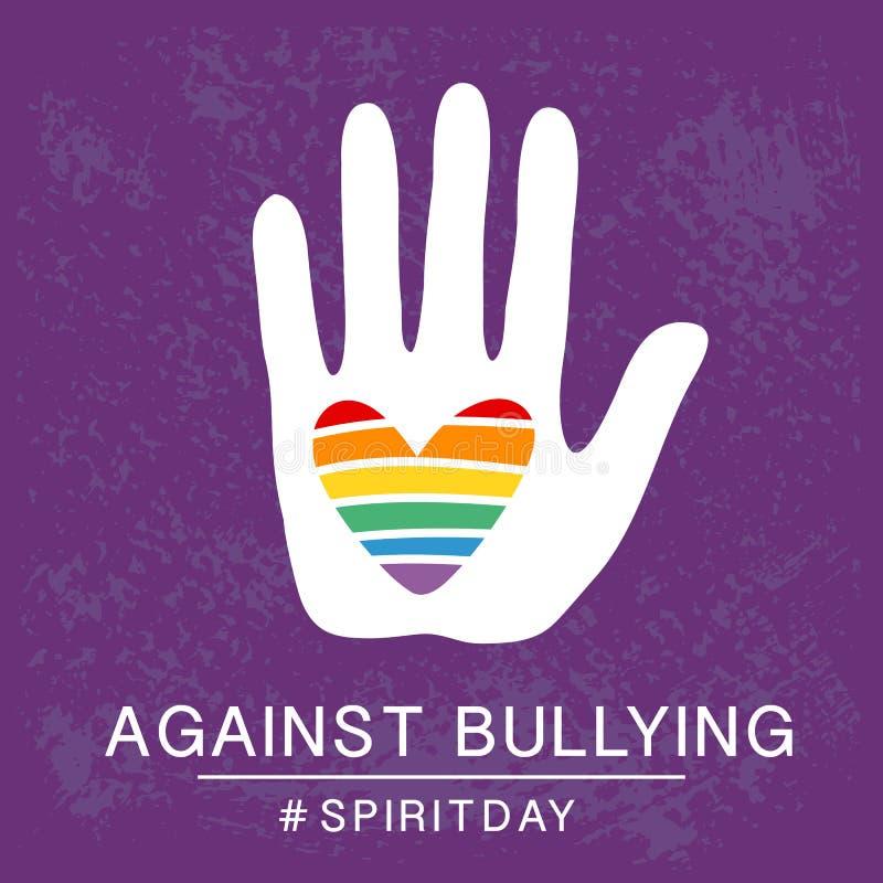 紫罗兰色精神的天,紫色颜色海报,与彩虹心脏在手中 反对胁迫 库存例证