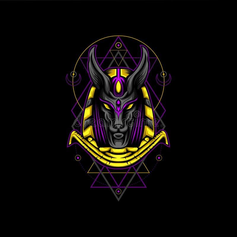 紫罗兰色金阿努比斯几何样式 免版税库存照片