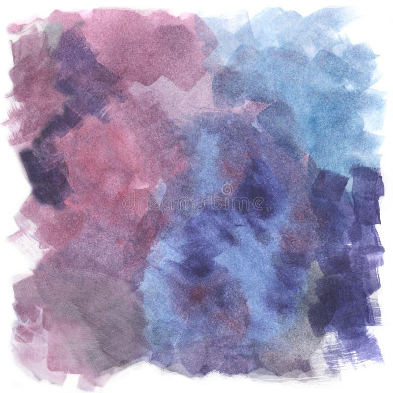 紫罗兰色,紫色和蓝色水彩背景,手画例证 皇族释放例证