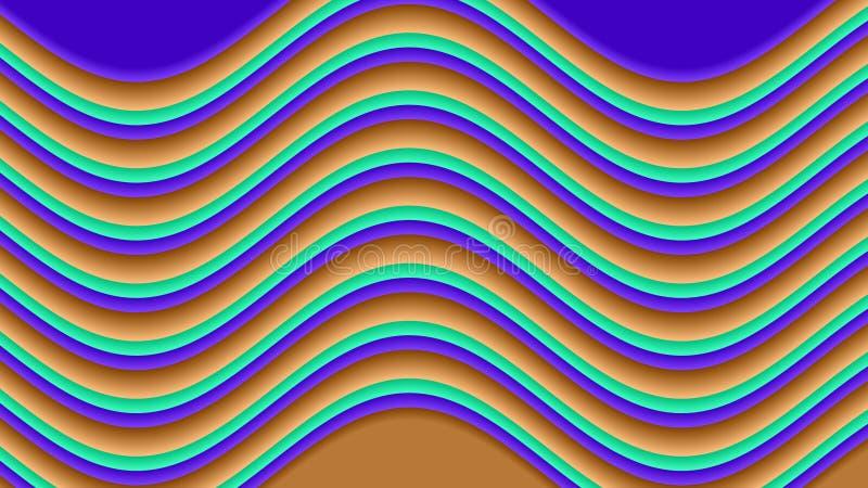 紫罗兰色,绿色和黄色波形形式一个花梢样式 皇族释放例证