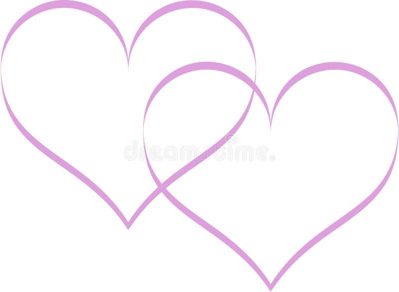 紫色两心脏冲程线 皇族释放例证