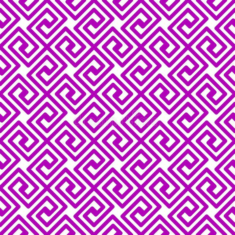 紫色几何正方形希腊无缝的样式 皇族释放例证