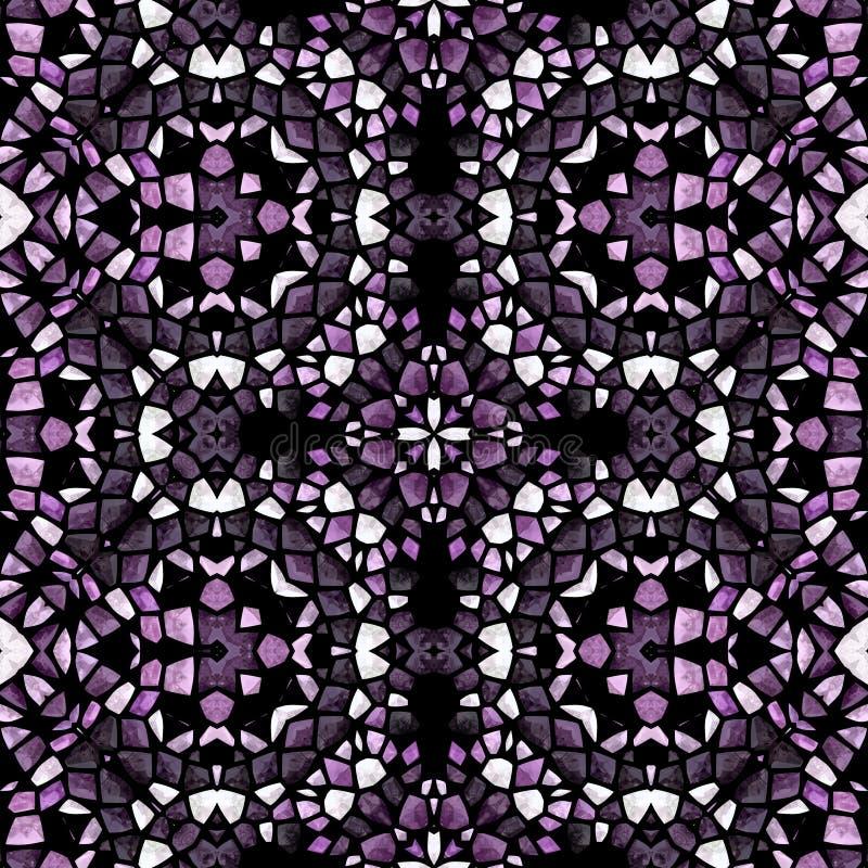 紫色创造性的设计万花筒无缝的纹理 万花筒背景和抽象葡萄酒设计 库存例证