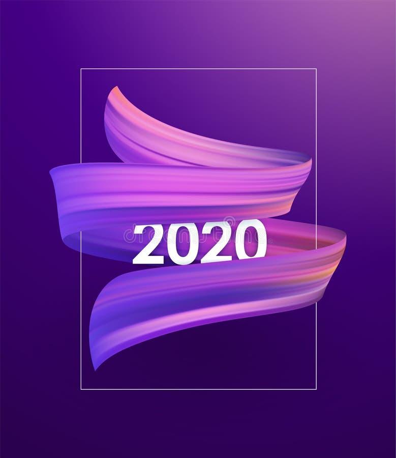 紫色刷子冲程油或丙烯酸漆与新年2020年 海报时髦设计 向量例证