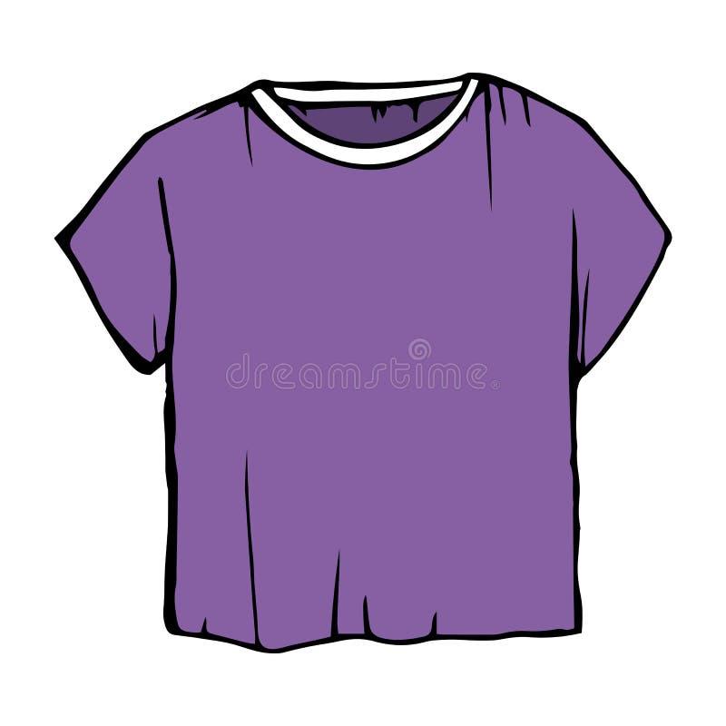 紫色剪影T恤杉 T恤杉例证 儿童的外形图衣裳 向量例证