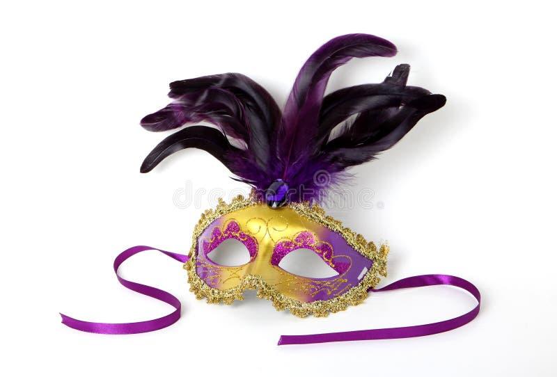 紫色和在白色的金威尼斯式屏蔽 库存图片